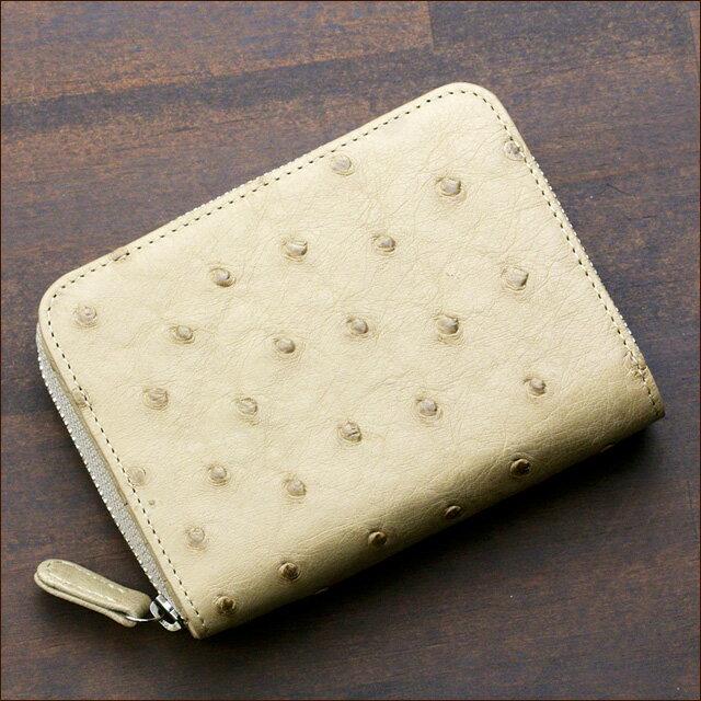 オーストリッチ ダチョウ革 二つ折り財布 小銭入れあり ラウンドファスナー メンズ 日本製 オリジナル ベージュ バターカップ