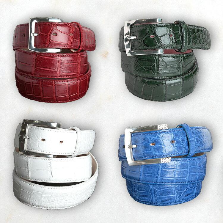 ベルト メンズ 本革 クロコダイル ワニ革 ダークレッド ダークグリーン ホワイト ロイヤルブルー 日本製 クアトロガッティ イタリア製 バックル 35mm スーツ カジュアル フリーサイズ