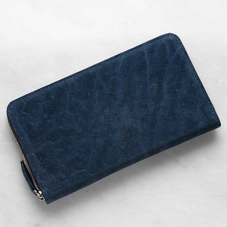エレファント 象革 長財布 小銭入れあり ブルー インディゴ メンズ 日本製 レザック LE'SAC 8134