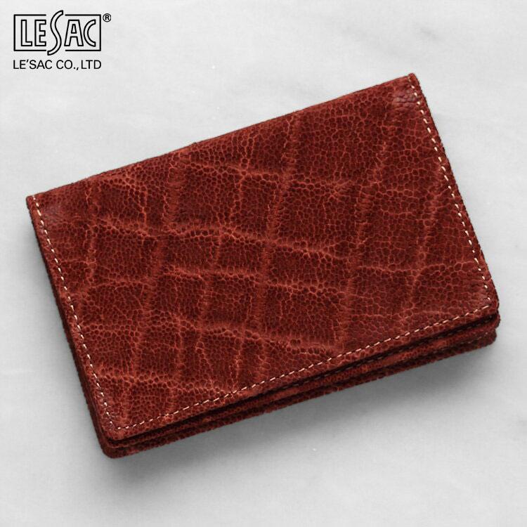 エレファント 象革 名刺入れ カードケース レザック LE'SAC ブラウン アーモンド/茶色 メンズ 日本製 8135 正規取扱品