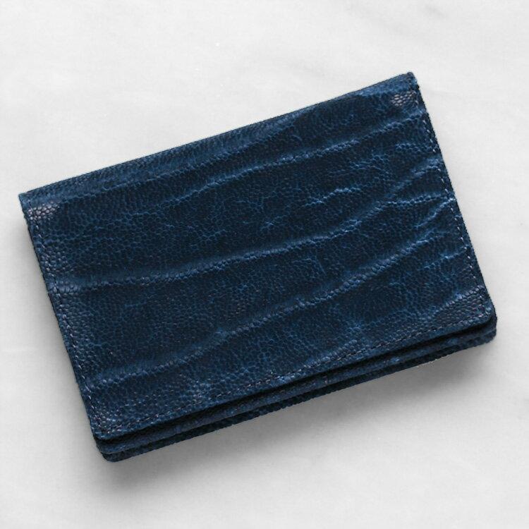 エレファント 象革 名刺入れ カードケース ブルー インディゴ メンズ 日本製 レザック LE'SAC 8135