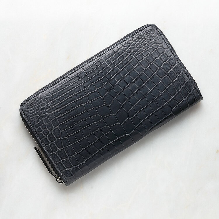 クロコダイル ワニ革 長財布 小銭入れあり スモークグレー ナイルクロコダイル メンズ 日本製 レザック LE'SAC 8139