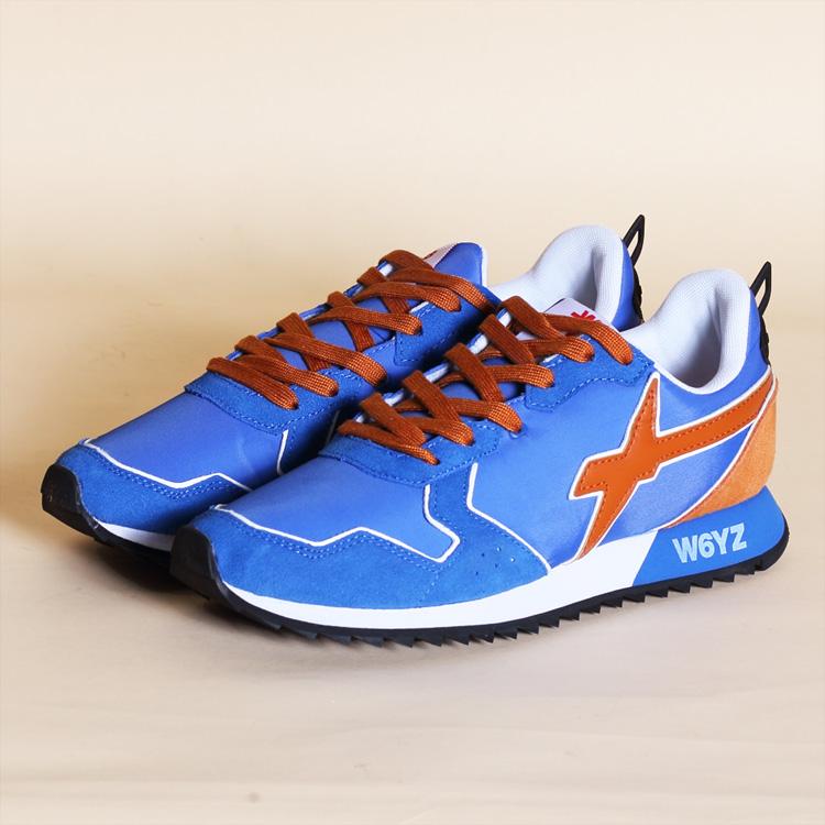 ウィズ W6YZ WIZZ スニーカー ローカット 靴 メンズ ブルー オレンジ/青 イタリア WI190-10030 JET 80-30 雑誌掲載 LEON UOMO Safari