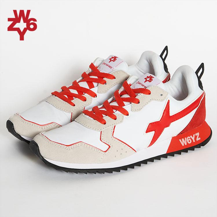 ウィズ W6YZ WIZZ スニーカー ローカット 靴 メンズ ホワイト/白 レッド オレンジ イタリア JET-M JM200-1N10 01-40 雑誌掲載 LEON UOMO Safari