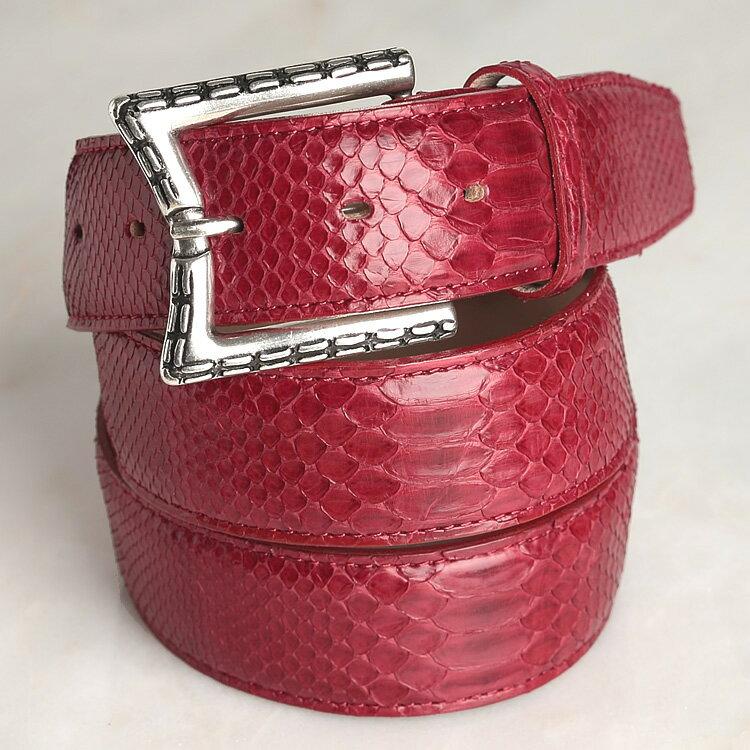 ベルト メンズ 本革 パイソン 蛇革 レディース レッド 日本製 クアトロガッティ イタリア製バックル 40mm ダイヤモンドパイソン 1789 カジュアル フリーサイズ