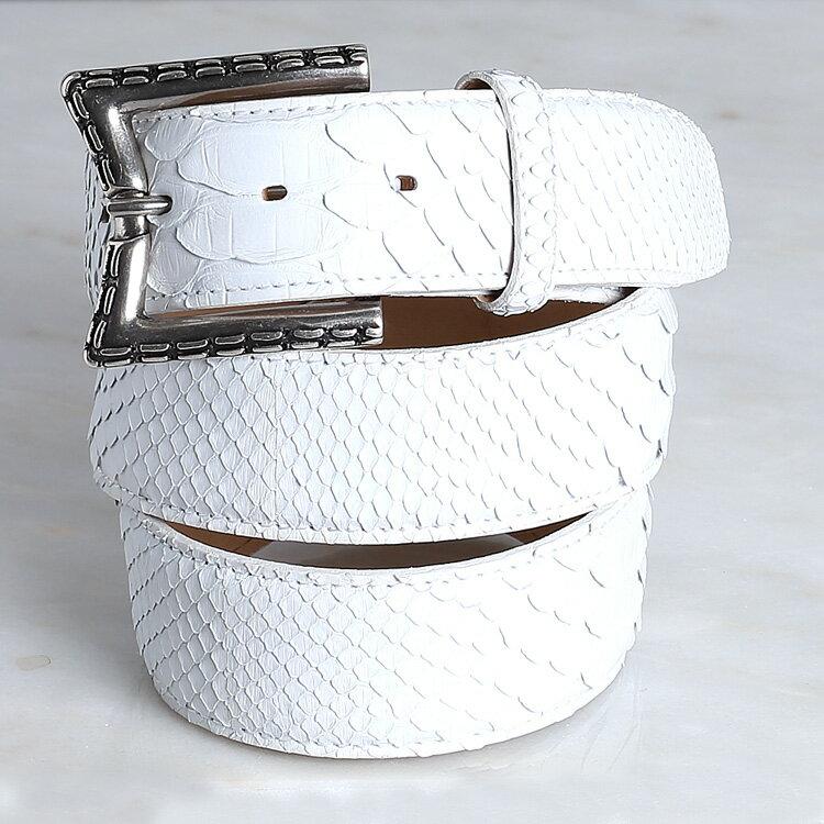 ベルト メンズ 本革 パイソン ヘビ革 蛇革 クアトロガッティ quattrogatti レディース 男女兼用 ホワイト/白 日本製 イタリア製バックル 40mm 4cm ダイヤモンドパイソン 1797 カジュアル ゴルフ フリーサイズ 正規取扱品