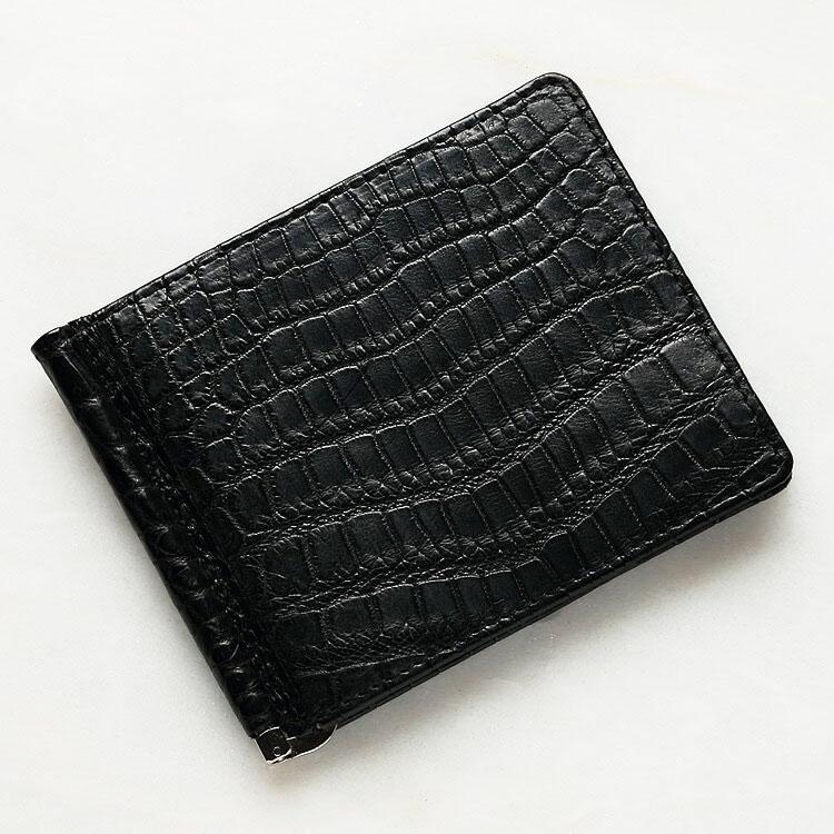 財布 クロコダイル ワニ革 マネークリップ 札ばさみ 二つ折り 薄型 コンパクト 手のひらサイズ ブラック/黒 本革 メンズ 無双 日本製 オリジナル 開運 金運