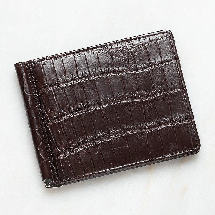 財布 クロコダイル ワニ革 マネークリップ 札ばさみ 二つ折り 薄型 コンパクト 手のひらサイズ ダークブラウン/茶色 本革 メンズ 無双 日本製 オリジナル 開運 金運