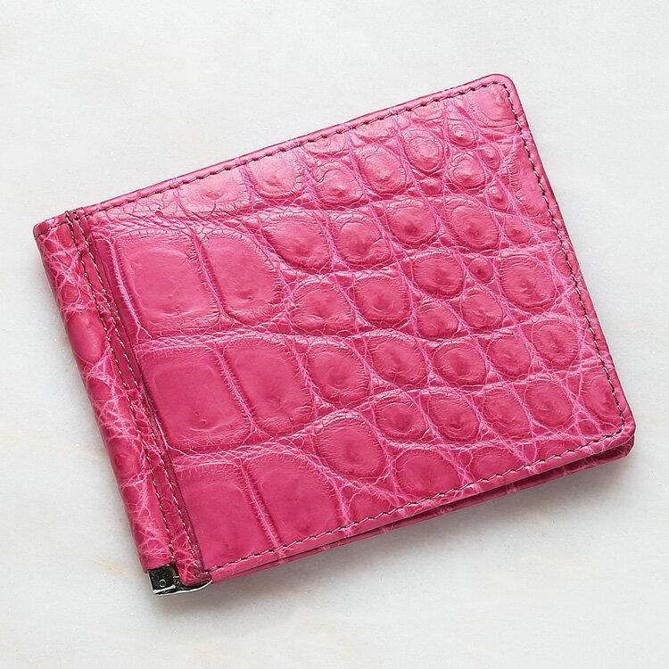 財布 クロコダイル ワニ革 マネークリップ 札ばさみ 二つ折り 薄型 コンパクト 手のひらサイズ ピンク 本革 メンズ 無双 日本製 オリジナル 開運 金運