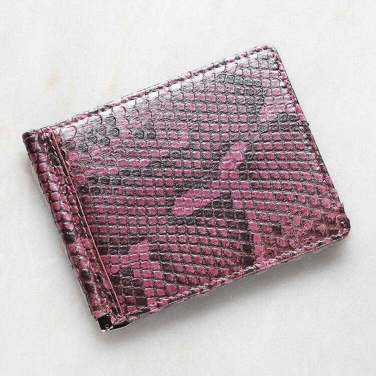 財布 パイソン 蛇革 マネークリップ 札ばさみ 二つ折り 薄型 コンパクト 手のひらサイズ ピンク 本革 メンズ 日本製 モラレスパイソン オリジナル 開運 金運
