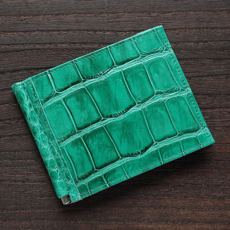 マネークリップ 札ばさみ クロコダイル ワニ革 財布 エメラルドグリーン 本革 メンズ 無双 日本製 オリジナル