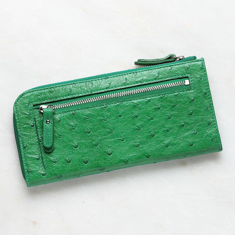 【今だけポイント15倍】オーストリッチ ダチョウ革 長財布 小銭入れあり グリーン メンズ 日本製 オリジナル