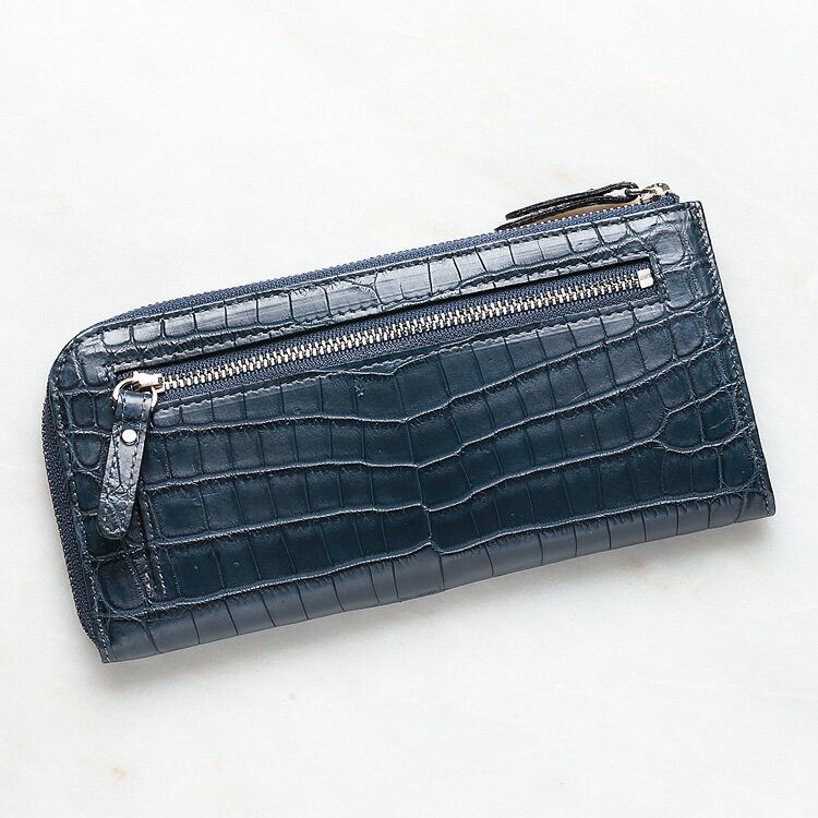 クロコダイル ワニ革 長財布 小銭入れあり メンズ レディース 男女兼用 日本製 オリジナル ネイビー