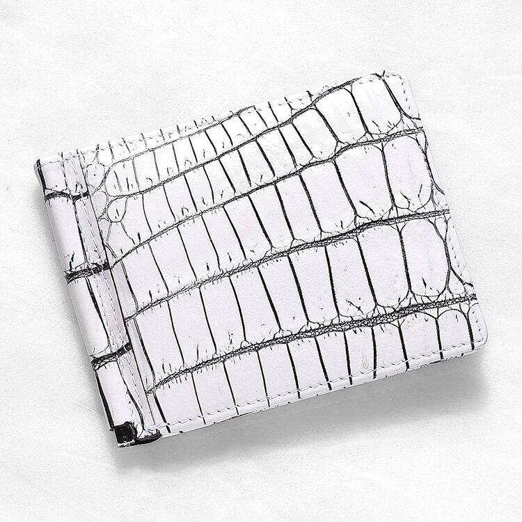 【今だけポイント15倍】マネークリップ 札ばさみ クロコダイル ワニ革 財布 ホワイト バニラ 本革 メンズ 無双 日本製 オリジナル