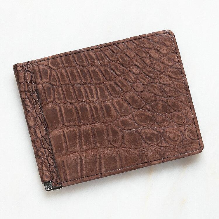 マネークリップ 札ばさみ クロコダイル ワニ革 財布 マット ブラウン 本革 メンズ 無双 日本製 オリジナル