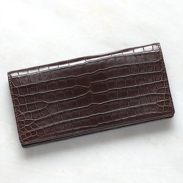 財布 長財布 メンズ レディース クロコダイル ワニ革 小銭入れあり ブラウン/茶色 日本製 無双 オリジナル