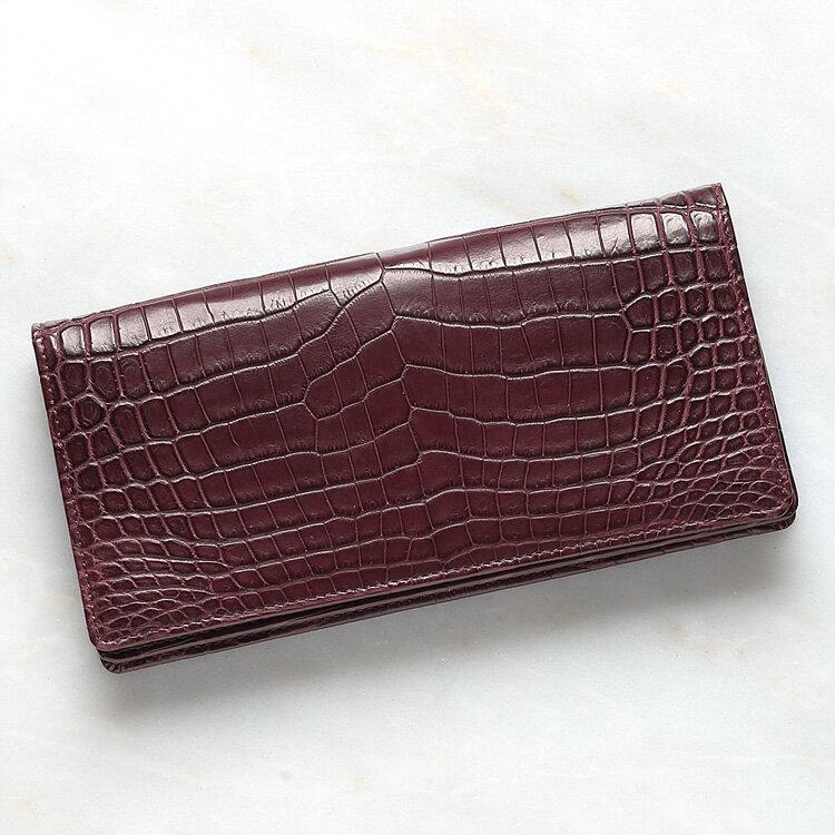 クロコダイル ワニ革 長財布 小銭入れあり ワイン ボルドー メンズ 日本製 無双 オリジナル