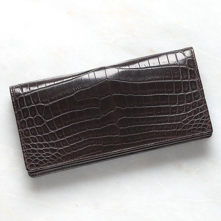 財布 長財布 メンズ レディース クロコダイル ワニ革 小銭入れあり ダークブラウン/茶色 日本製 無双 オリジナル