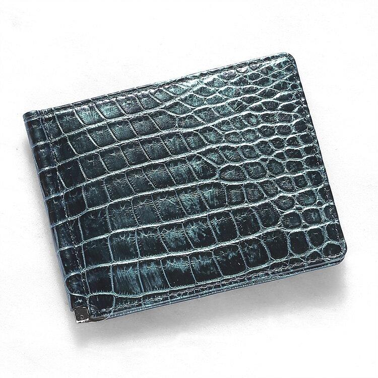 マネークリップ 札ばさみ クロコダイル ワニ革 財布 グリーン メタリック 本革 メンズ 無双 日本製 オリジナル