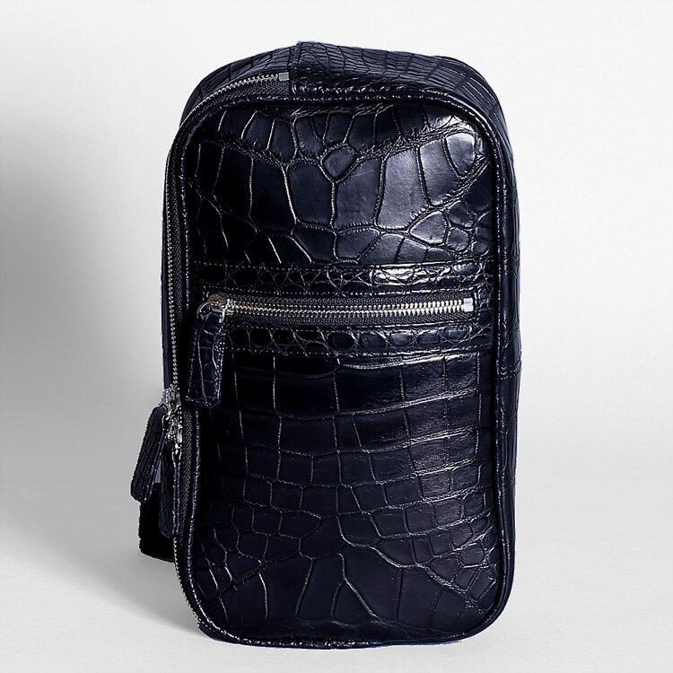 【今だけポイント15倍】クロコダイル ワニ革 ショルダーバッグ ボディバッグ ブラック 本革 メンズ 日本製 オリジナル ラッピング無料
