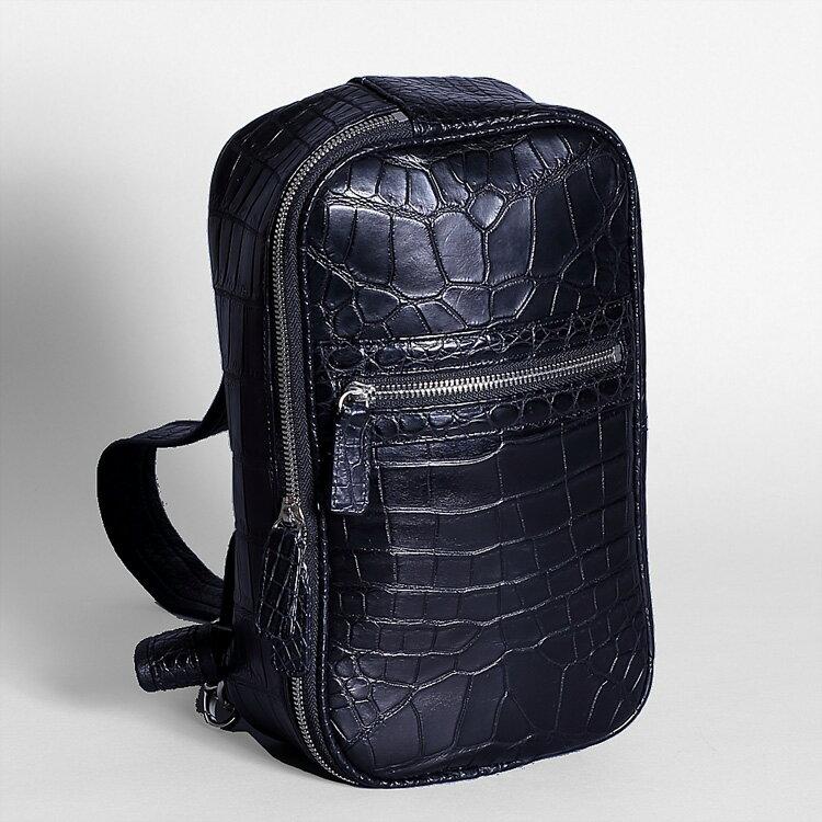 クロコダイル ワニ革 ショルダーバッグ ボディバッグ ブラック 本革 メンズ 日本製 オリジナル