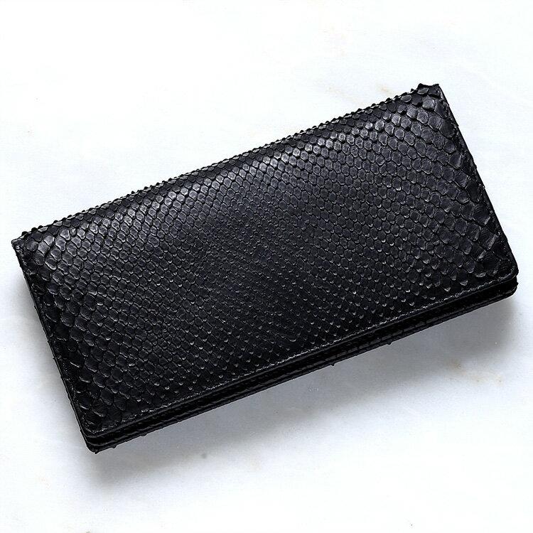 【今だけポイント15倍】パイソン 蛇革 札入れ 長財布 小銭入れなし メンズ ダイヤモンドパイソン 日本製 オリジナル ブラック フロントカット