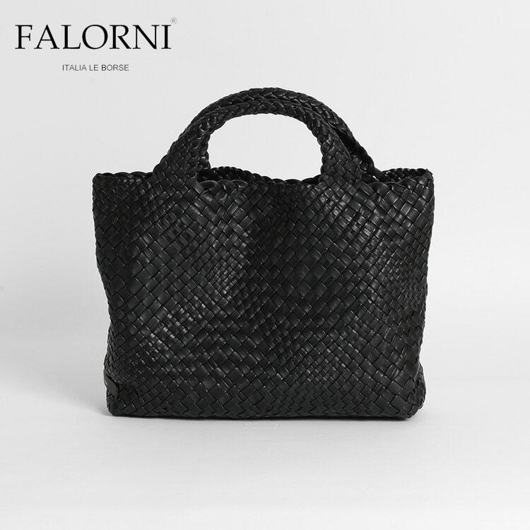 FALORNI ファロルニ レディース トートバッグ ハンドバッグ ブラック/黒 編み込み メッシュ イントレチャート 本革 イタリア製 1059