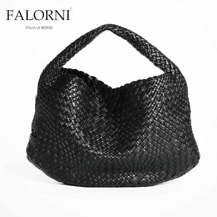 FALORNI ファロルニ falor ファロール レディース バッグ ハンドバッグ ブラック/黒 編み込み メッシュ イントレチャート 本革 イタリア製 1059TRAC