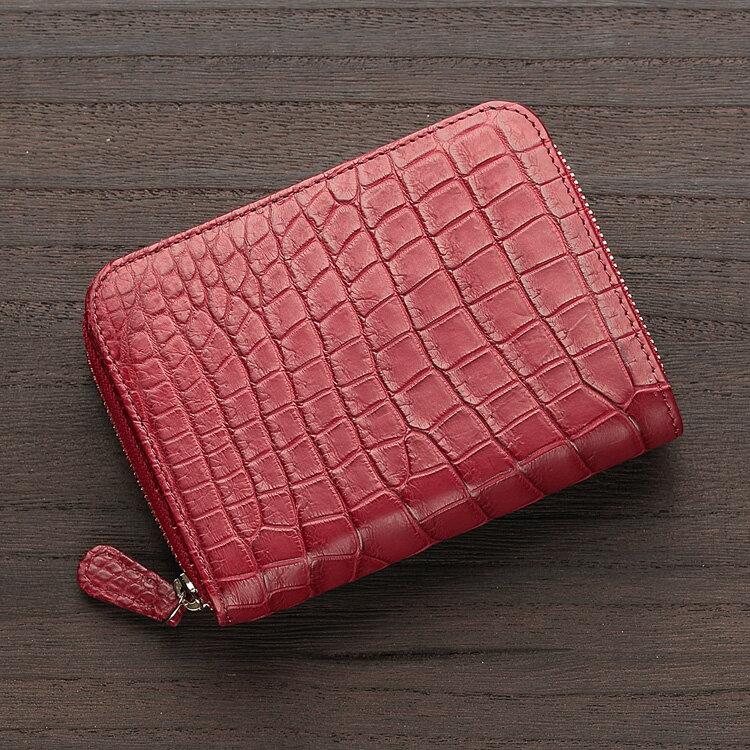 クロコダイル ワニ革 二つ折り財布 小銭入れあり ダークレッド メンズ ラウンドファスナー 日本製 無双 オリジナル