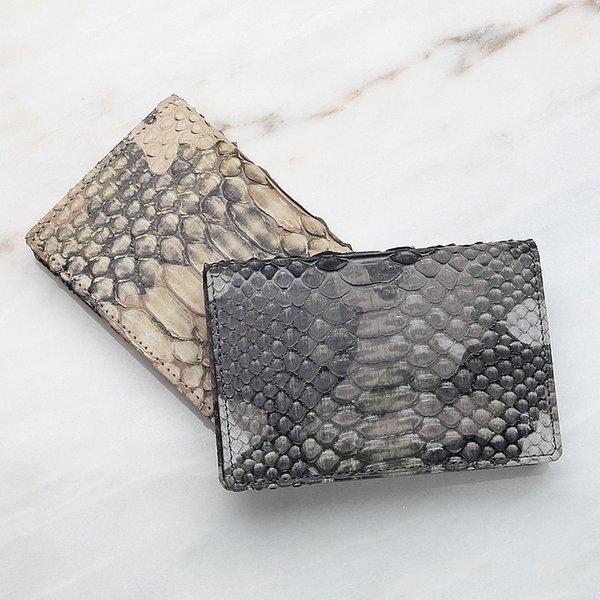 パイソン 蛇革 メンズ 名刺入れ カードケース レザック LE'SAC 迷彩柄 カモフラ柄 グレー カーキ ダイヤモンドパイソン 日本製 8122 正規取扱品