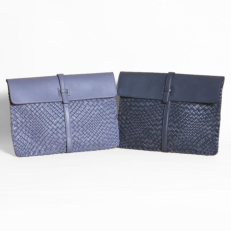 FALORNI ファロルニ クラッチバッグ ネイビー/紺 ブルーグレー/青 メンズ 編み込み メッシュ イントレチャート 本革 イタリア製 874