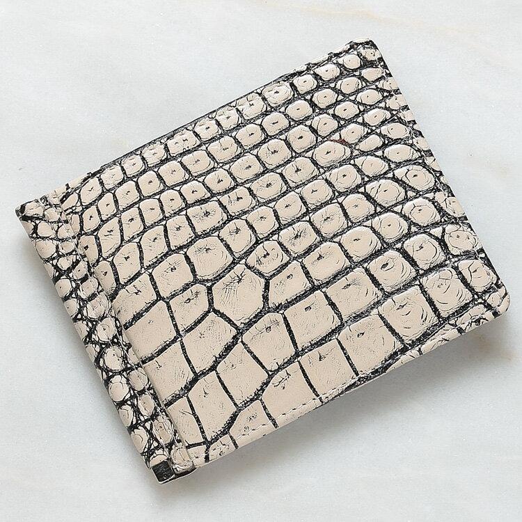 マネークリップ 札ばさみ クロコダイル ワニ革 財布 ベージュ バニラ 本革 メンズ 無双 日本製 オリジナル