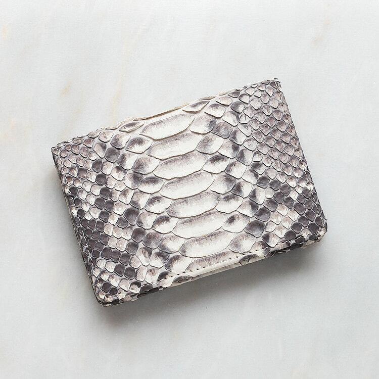 カードケース 名刺入れ パイソン 蛇革 本革 ホワイト ナチュラル(バックカット) 日本製 ダイヤモンドパイソン オリジナル