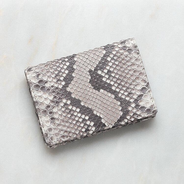 カードケース 名刺入れ パイソン 蛇革 本革 ホワイト ナチュラル(フロントカット) 日本製 ダイヤモンドパイソン オリジナル