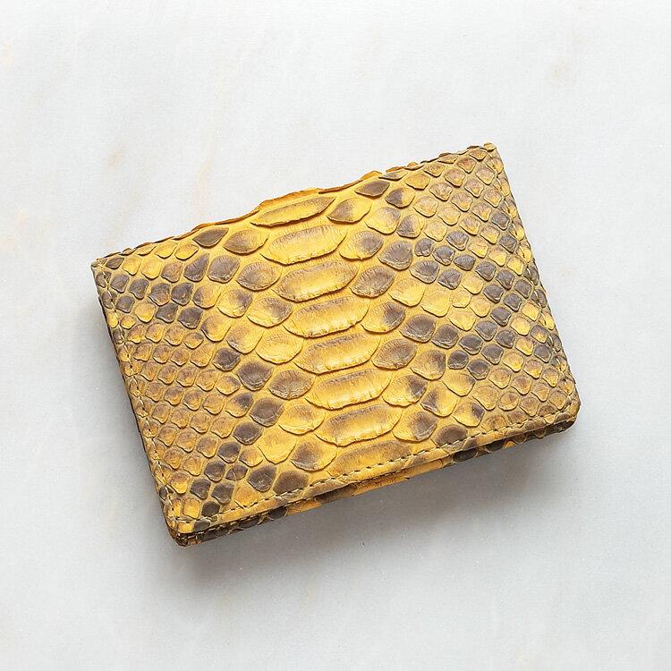 カードケース 名刺入れ パイソン 蛇革 本革 イエロー/黄色 日本製 ダイヤモンドパイソン オリジナル