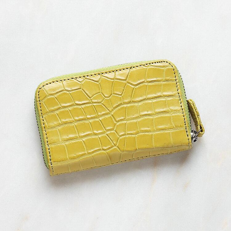 小銭入れ コインケース メンズ 財布 クロコダイル ワニ革 ライムイエロー/黄色 本革 日本製 オリジナル