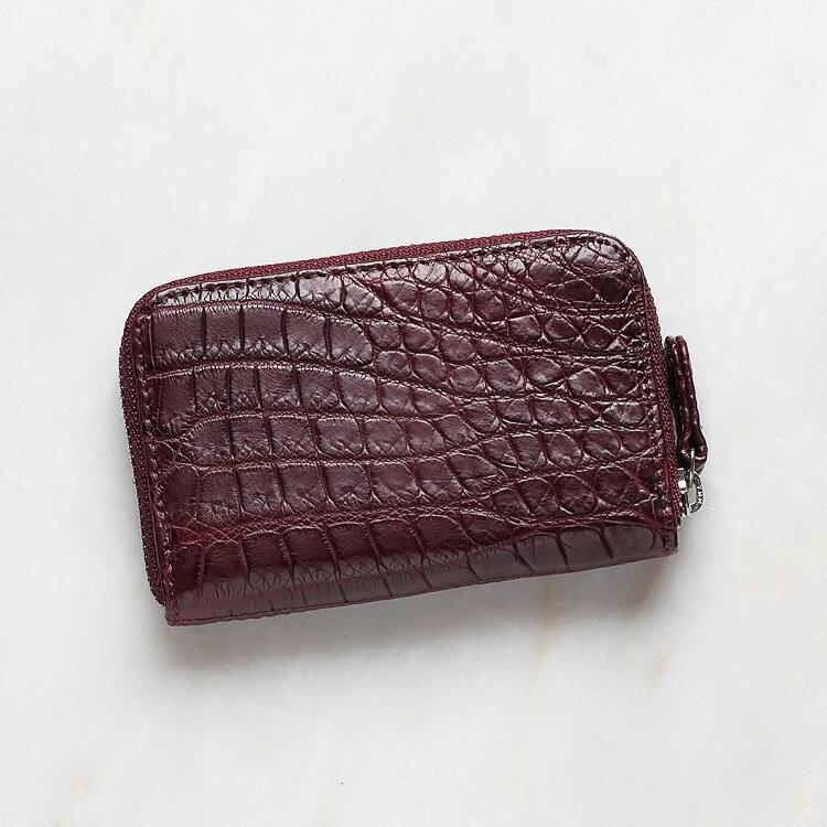 小銭入れ コインケース メンズ 財布 クロコダイル ワニ革 ワイン/ボルドー 本革 日本製 オリジナル
