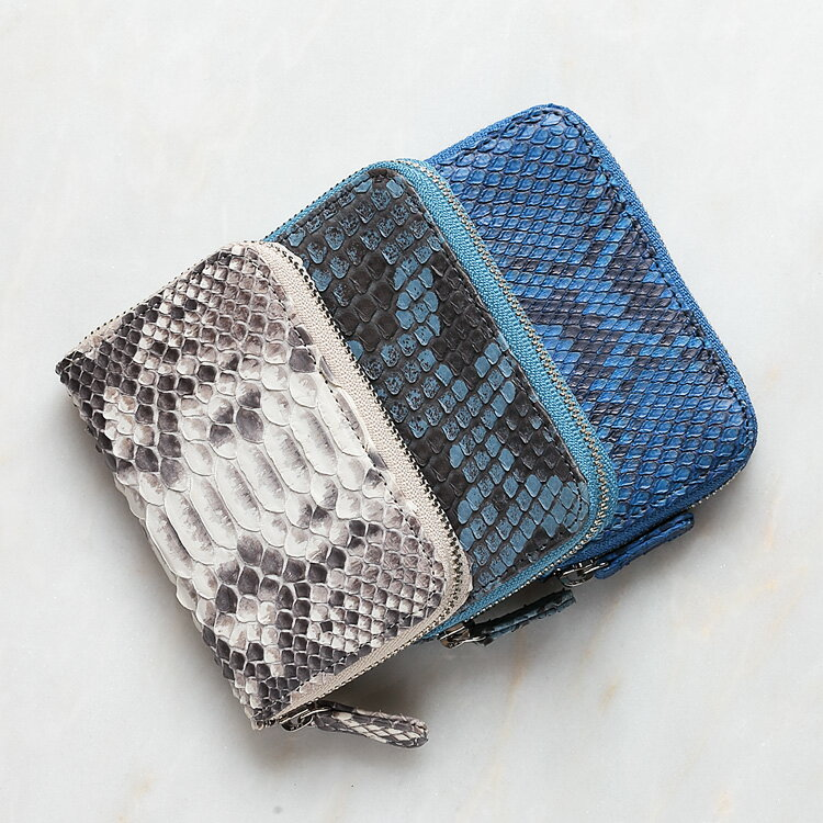 小銭入れ コインケース メンズ 財布 パイソン 蛇革 ホワイト/白 ライトブルー/青 ロイヤルブルー/青 本革 日本製 ダイヤモンドパイソン オリジナル