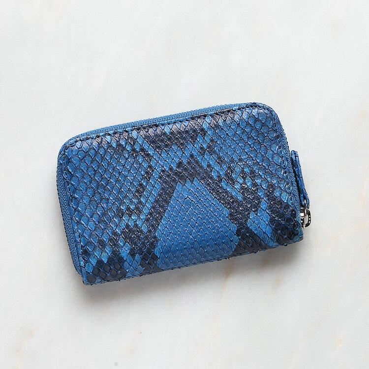 小銭入れ コインケース メンズ 財布 パイソン 蛇革 ロイヤルブルー/青 本革 日本製 ダイヤモンドパイソン オリジナル