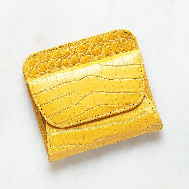 小銭入れ コインケース メンズ 財布 ミニウォレット クロコダイル ワニ革 イエロー/黄色 本革 日本製 オリジナル 開運 金運