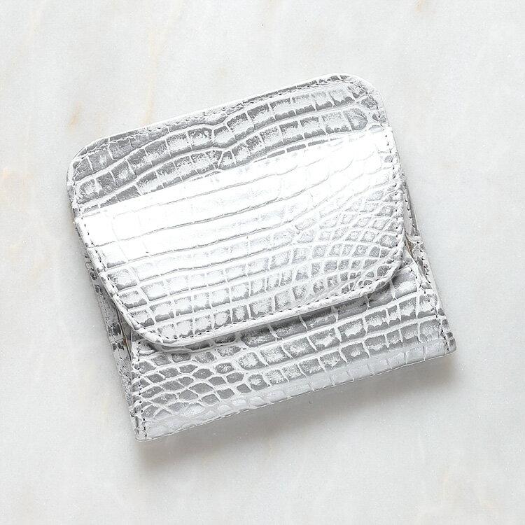 【今だけポイント15倍】コインケース 小銭入れ 財布 クロコダイル ワニ革 シルバー 本革 日本製 オリジナル