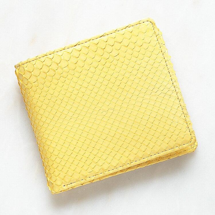 ダイヤモンドパイソン 蛇革 二つ折り財布 小銭入れあり イエロー メンズ 日本製 無双 オリジナル