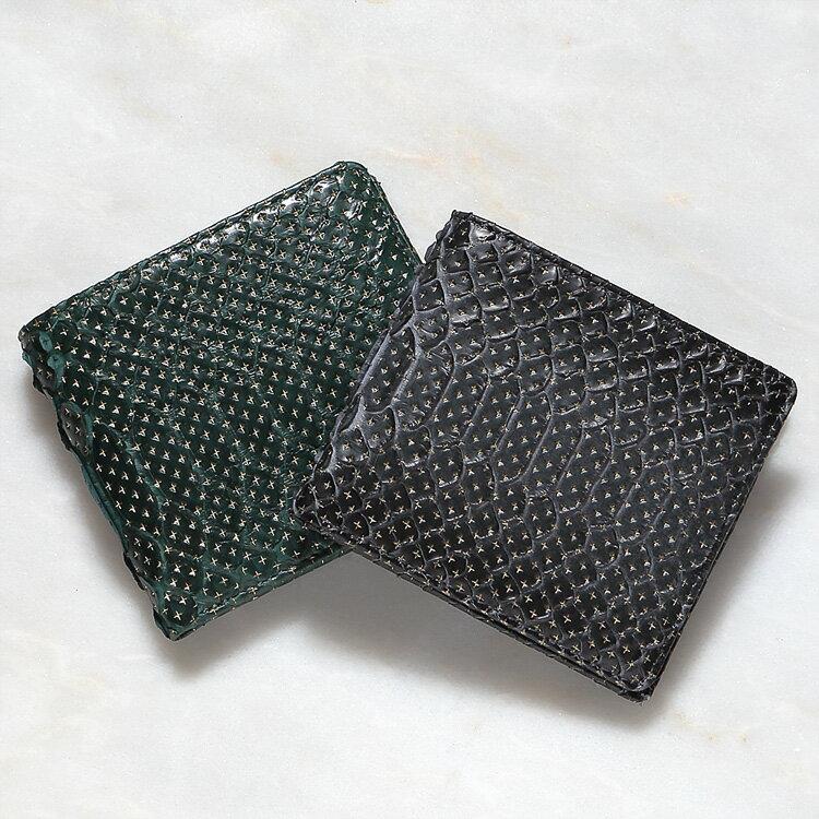 ダイヤモンドパイソン 蛇革 二つ折り財布 小銭入れあり スター柄 グレー グリーン/緑 メンズ 日本製 無双 オリジナル 開運 金運