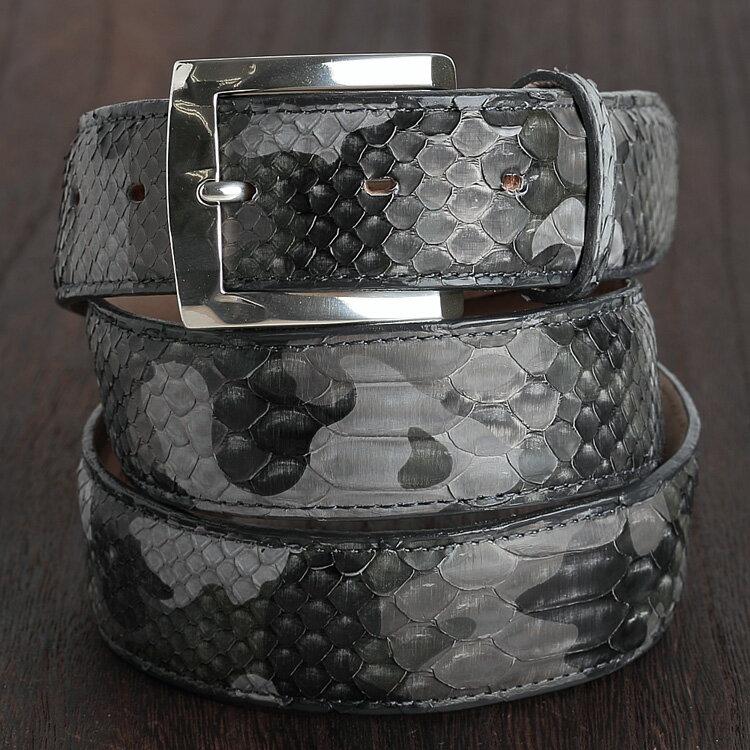 ベルト メンズ 本革 パイソン 蛇革 レディース 迷彩柄 カモフラ柄 グレー 日本製 クアトロガッティ イタリア製バックル 35mm ダイヤモンドパイソン 1801 フリーサイズ