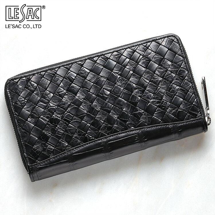 財布 長財布 メンズ レディース クロコダイル ワニ革 小銭入れあり レザック LE'SAC ブラック/黒 メッシュ 編み込み ポロサス 日本製 8138 正規取扱品