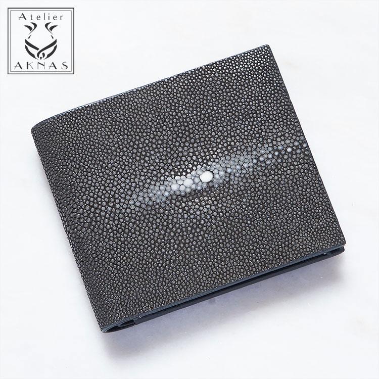 財布 二つ折り ガルーシャ スティングレー エイ革 薄型 コンパクト ブラック/黒 本革 メンズ Galuchat ATELIER AKNAS アトリエ アクナス SP011B フランス 開運 金運