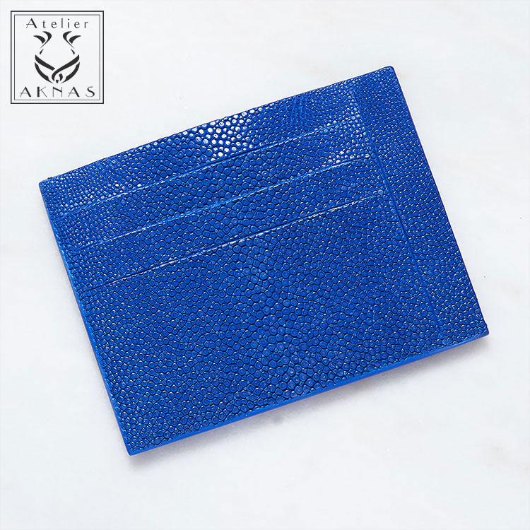 カードケース ガルーシャ スティングレー エイ革 薄型 コンパクト ブルー/青 本革 メンズ Galuchat ATELIER AKNAS アトリエ アクナス HAN009 フランス 開運 金運