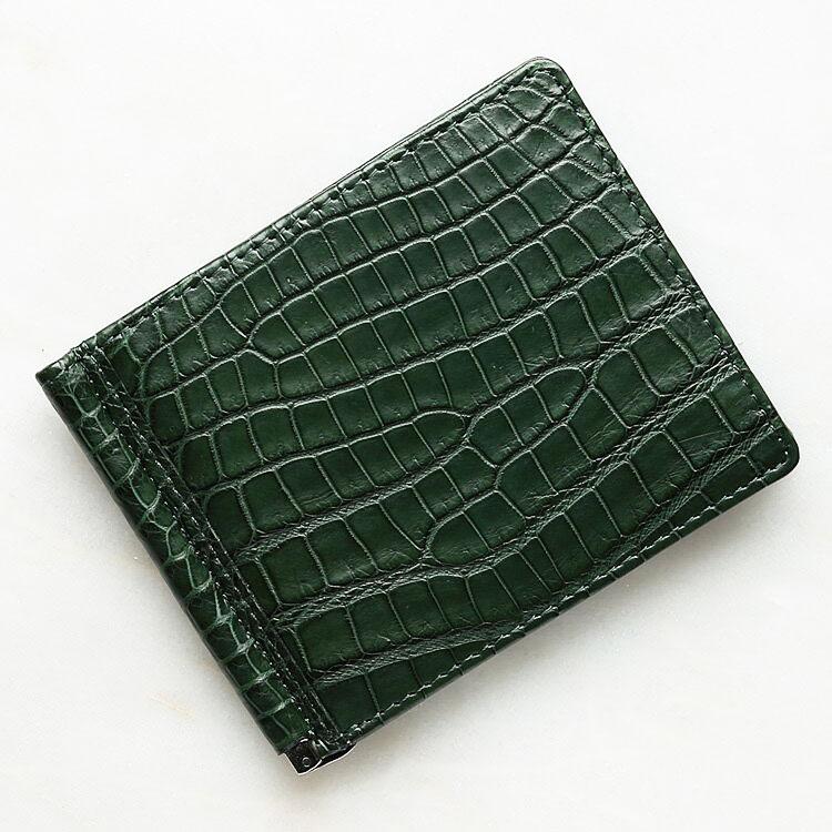 財布 クロコダイル ワニ革 マネークリップ 札ばさみ 二つ折り 薄型 コンパクト 手のひらサイズ ダークグリーン/緑 本革 メンズ 無双 日本製 オリジナル 開運 金運
