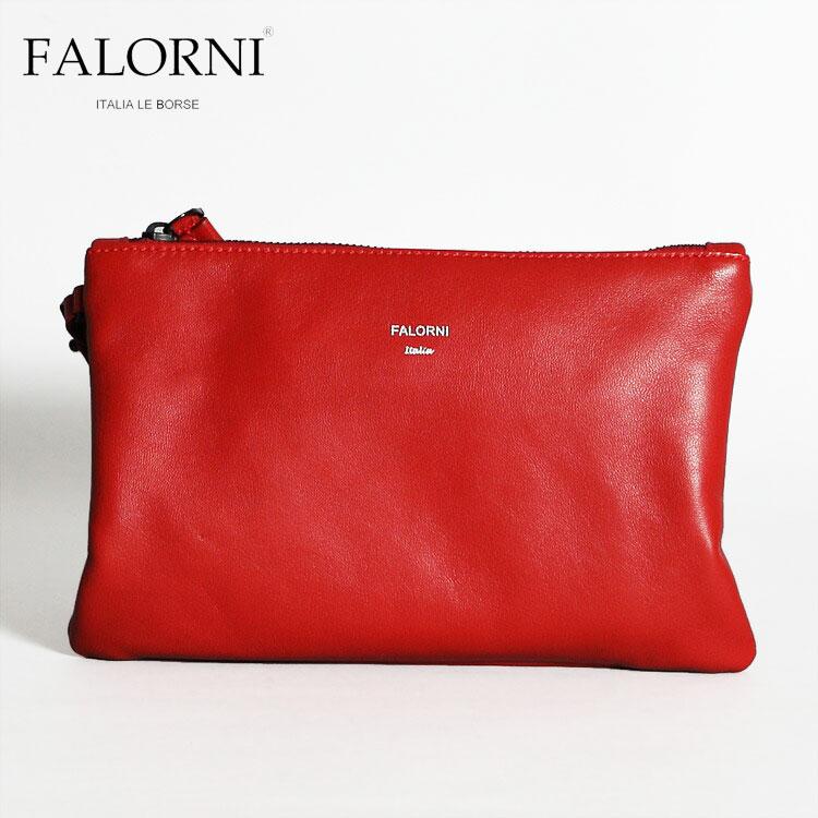 FALORNI ファロルニ ポーチ クラッチバッグ メンズ レディース レッド/赤 レザー 本革 イタリア製 TASCA