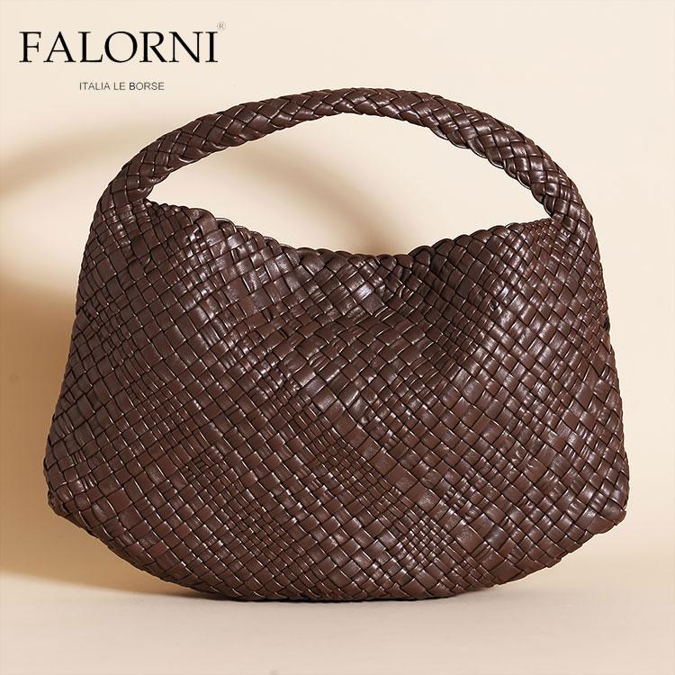 FALORNI ファロルニ falor ファロール レディース バッグ ハンドバッグ チョコレート ブラウン/茶色 編み込み メッシュ イントレチャート 本革 イタリア製 1059TRAC